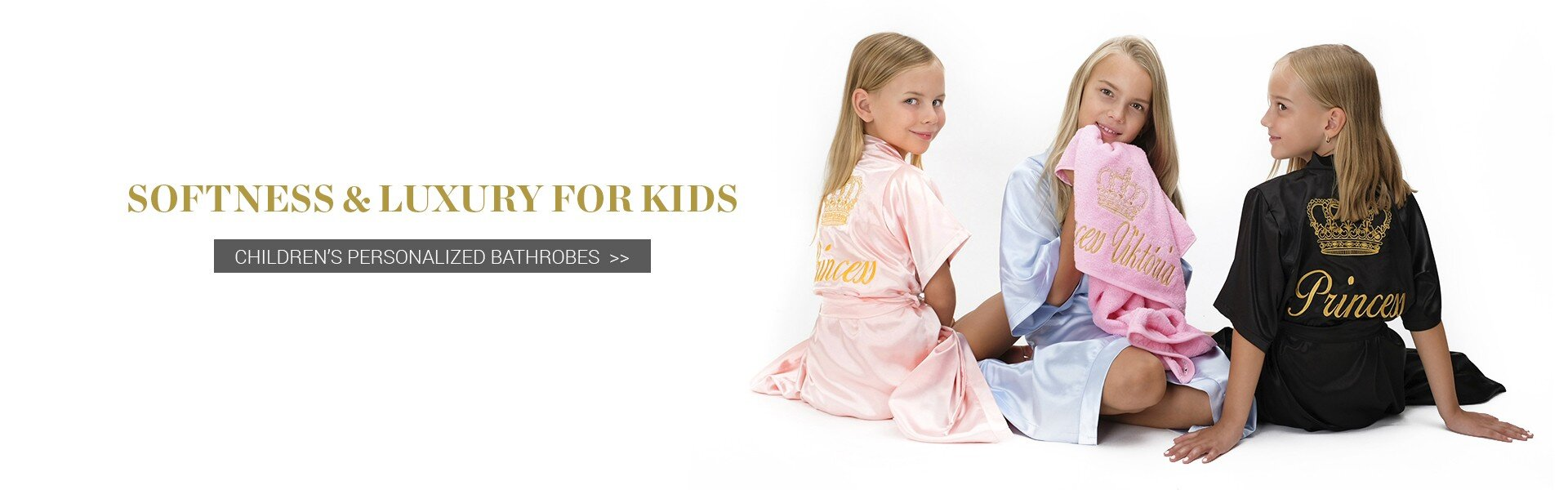 Satin personalised robes kids