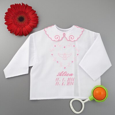 Christening shirt / a heart motive
